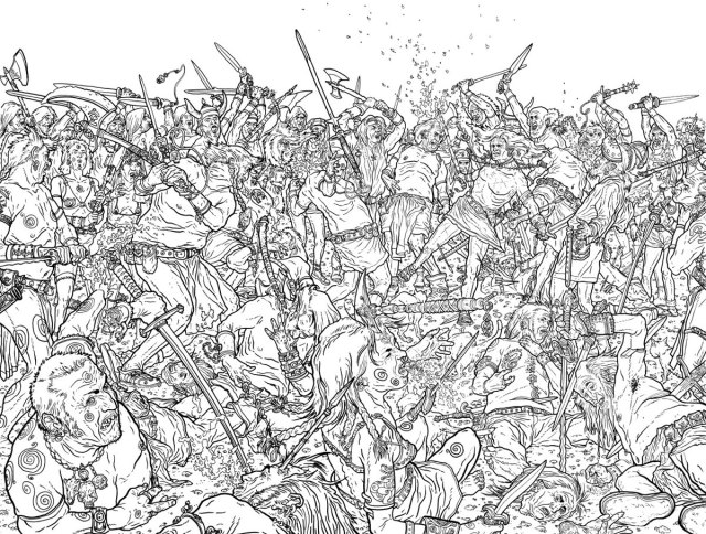 Black and white line art by Geoff Darrow