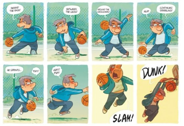 Dad plays basketball, painfully