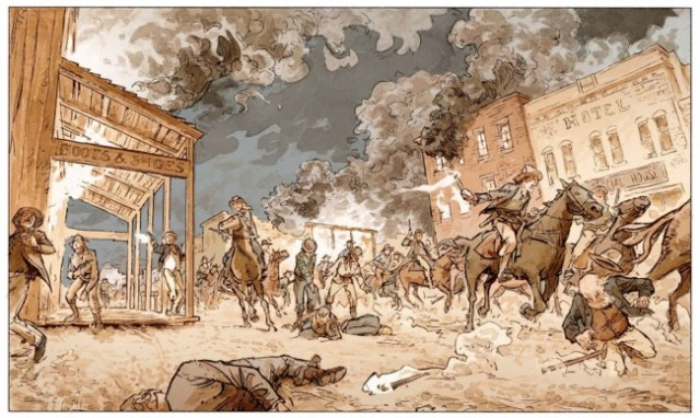 stern depicts the raid on Lawrence, Kansas in 1863