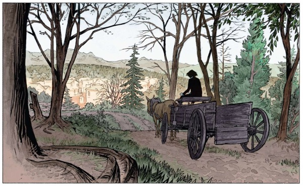 Stern rides into town on his wagon to pick up a body