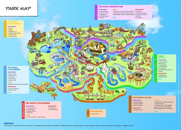 map of Parc Asterix, a half hour north of Paris, France