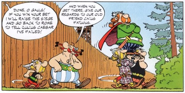 Continuity in Asterix and the Banquet calling back to Asterix the Gladiator