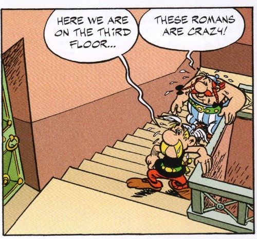 Obelix first points out that the Romans are crazy