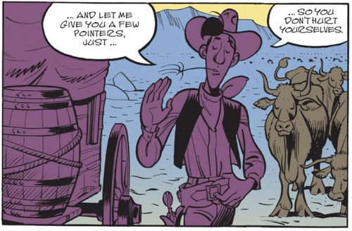 Wanted Lucky Luke lettering sample in English