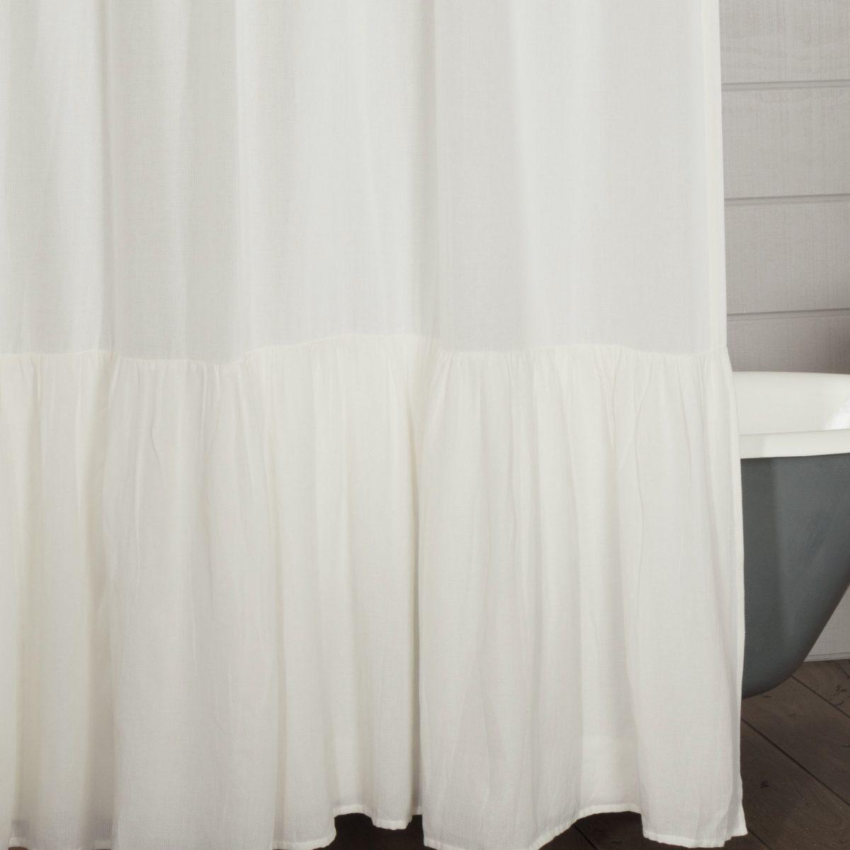 annabelle antique white high ruffle shower curtain