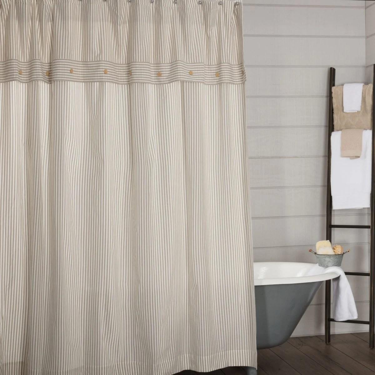 Farmhouse Ticking Taupe Shower Curtain Piper Classics