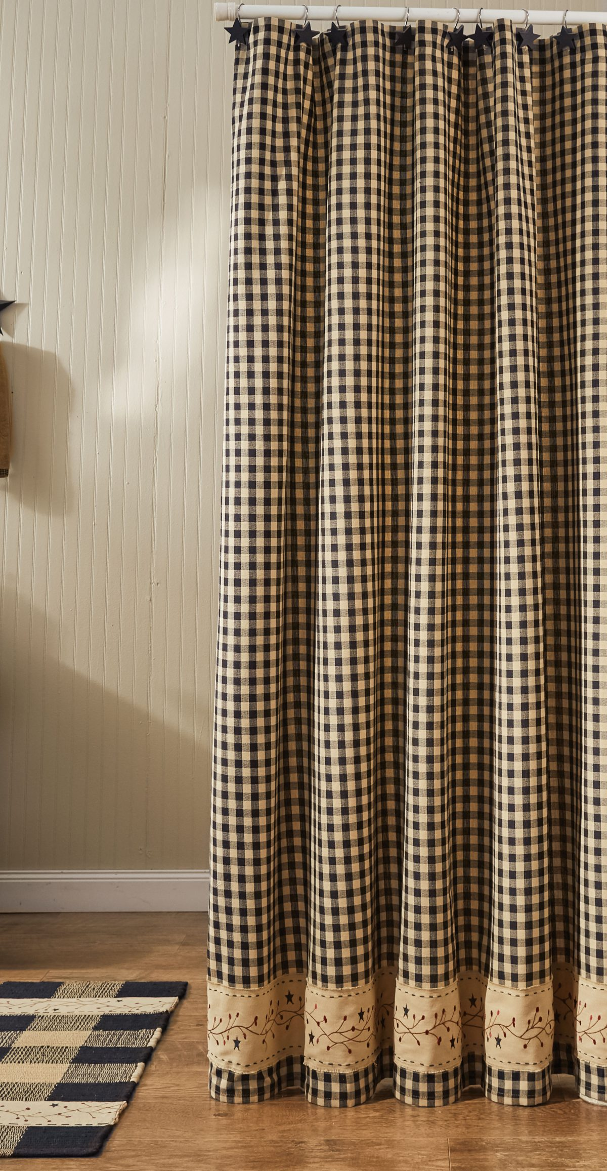 gingham berry black shower curtain