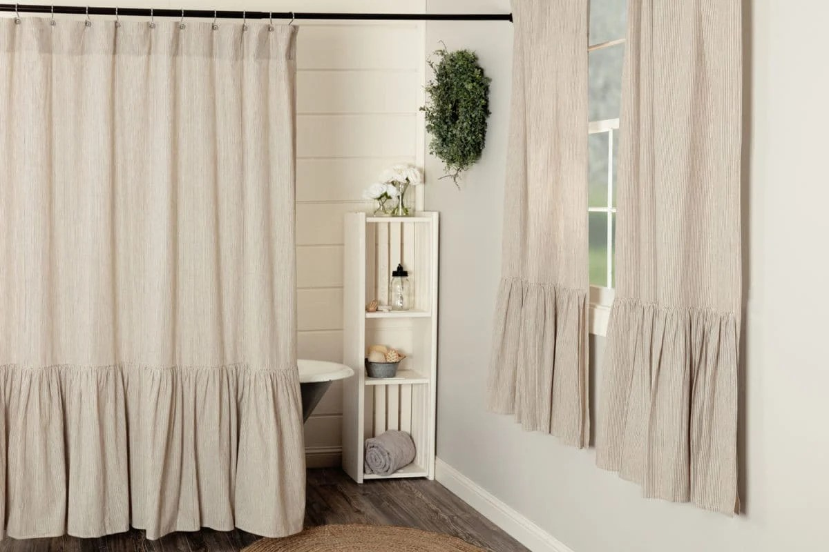 Sara S Ticking Black Ruffled Shower Curtain Piper Classics