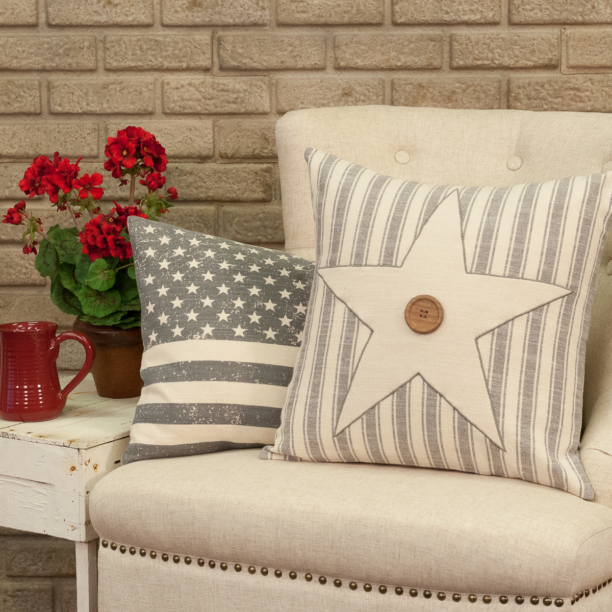 stenciled flag 16 x 26 pillow cover