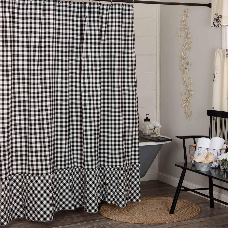 Vintage Check Black Shower Curtain Piper Classics