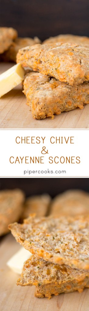 Cheesy Chive & Cayenne Scones | Fluffy, cheesy biscuits with chives and a hint of heat from cayenne pepper. PiperCooks