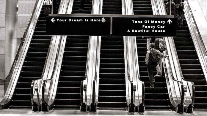 Motivational-quote-Stairs-in-the-airport-showing-different-paths-of-life-inspiration