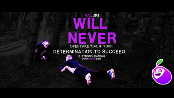 Motivational Quote. Runner facing himself after falling on the forest ground.