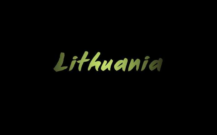 green-word-lithuania-in-black-background