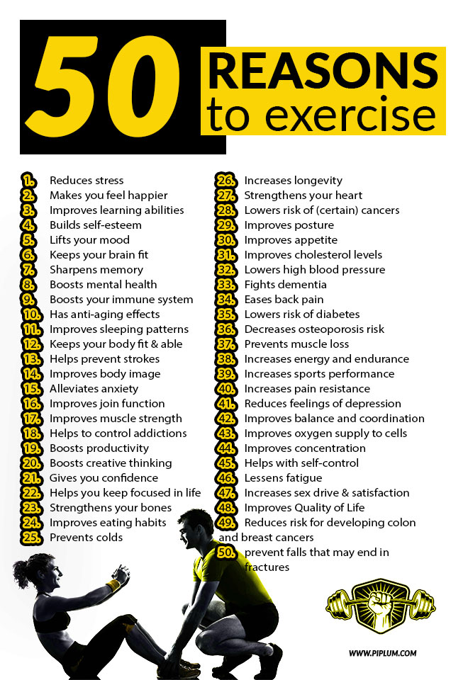50 reasons to exercise. Motivational poster. Man and women exercising