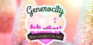 Christmas Motivational Quote. Generosity is giving more than you can, and pride is taking less than you need. Heart sticker in the hand.