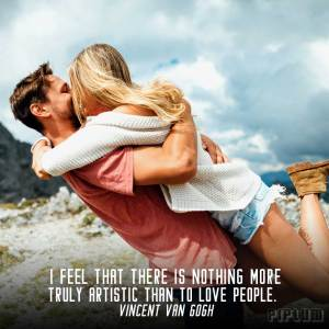 inspirational-Love quoe. Couple kissing on the top of the mountain.