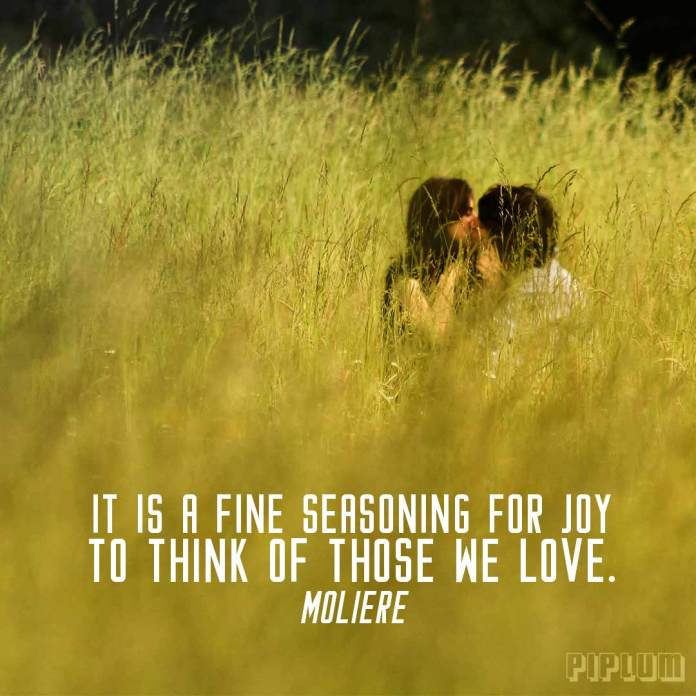Love Quote. Kissing couple in high grass.
