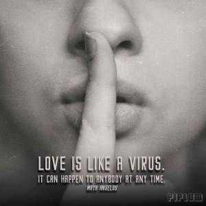 inspirational-Love quote. Woman with a finger to lips saying be quiet.
