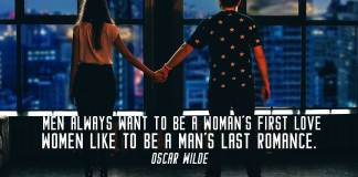 Love quote. Couple lookin to the the night lights of New York City.