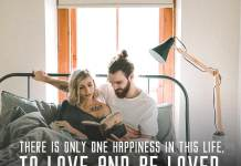 Love quote. Couple in the bed reading the book together.