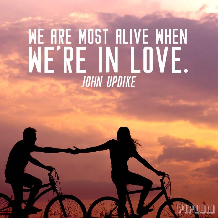 Man-and-women-holding-hands-while-riding-with-bikes-in-the-sunset-Love-quote