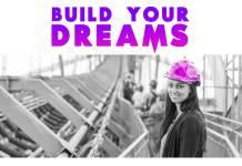 Build-your-dreams-motivational-quote-women-in-construction-helmet-purple