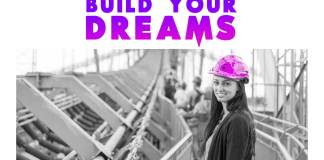 Build-your-dreams-motivational-quote-women-in-construction-helmet-purple