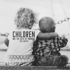 inspirational-Family Quote. Brother and sister sitting together and holding each other