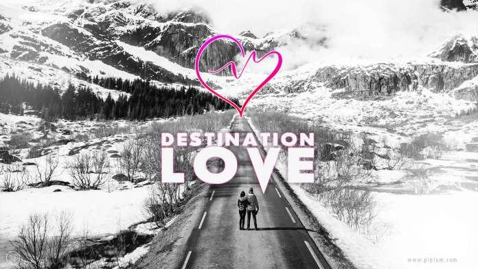 destination- Love-Quote-couple-goals-mountains-road-snow-winter