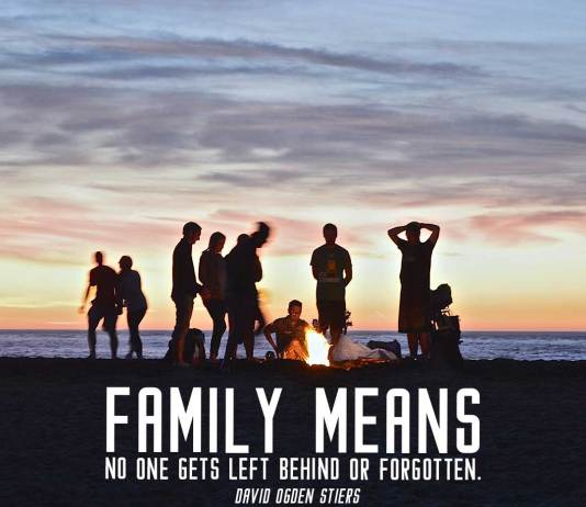 Family Quote. Family and friends sets fire in the beach. Beautiful sunset in the horizon.