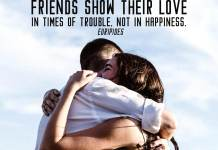 Friendship quote. Man and women hugging each other. Harrd times for both.