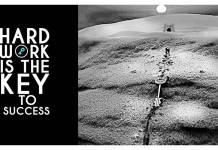 Man-dragging-success-key-through-the-desert,-Motivational-quote.