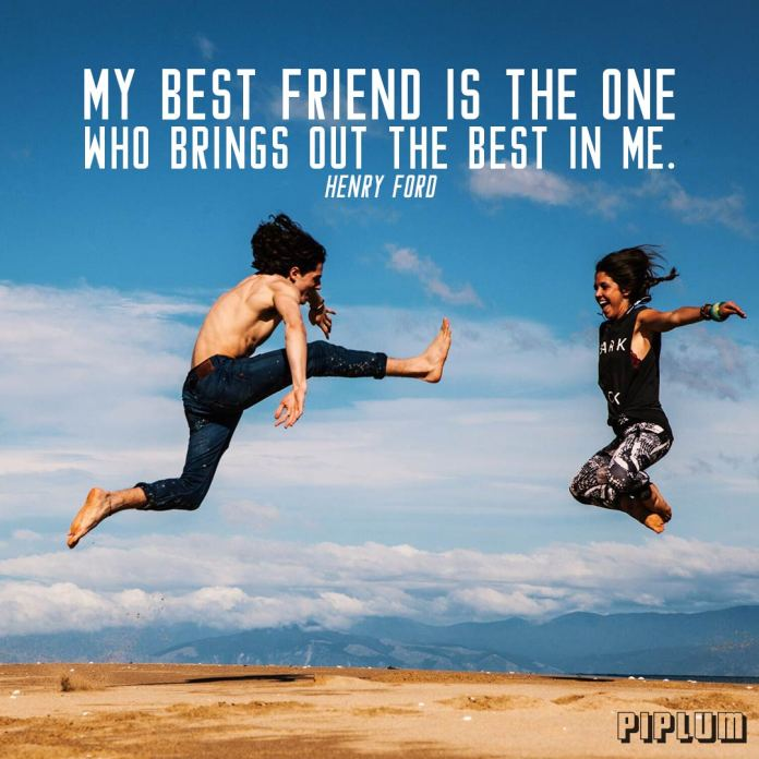Friendship quote. Boy and a girl jumps into the air on the top of the mountain. They are real best friends.