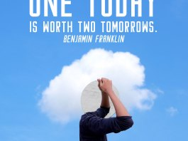 Inspirational Quote. Man holding an oval mirror in front of his head