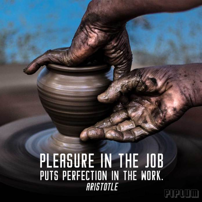 Work quote. Making a clay pot.