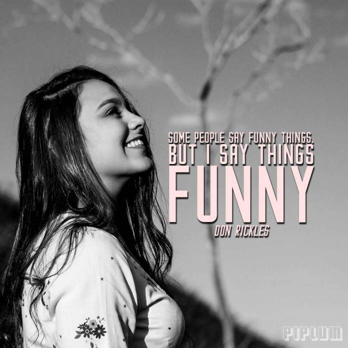 Funny quote. brunette Girl smilling after saying a famous quote.