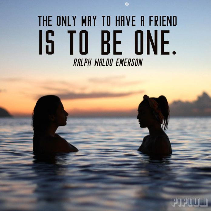 Friendship quote. 2 girls in a water looking to each other.