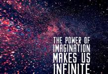Inspirational Quote. Infinity colors look like space, cosmos or galaxy