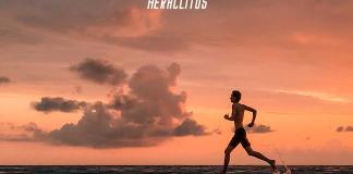 Life quote. Skinny guy running in the beach during sunset.