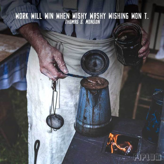 Work quote. Old man making hand made coffe.