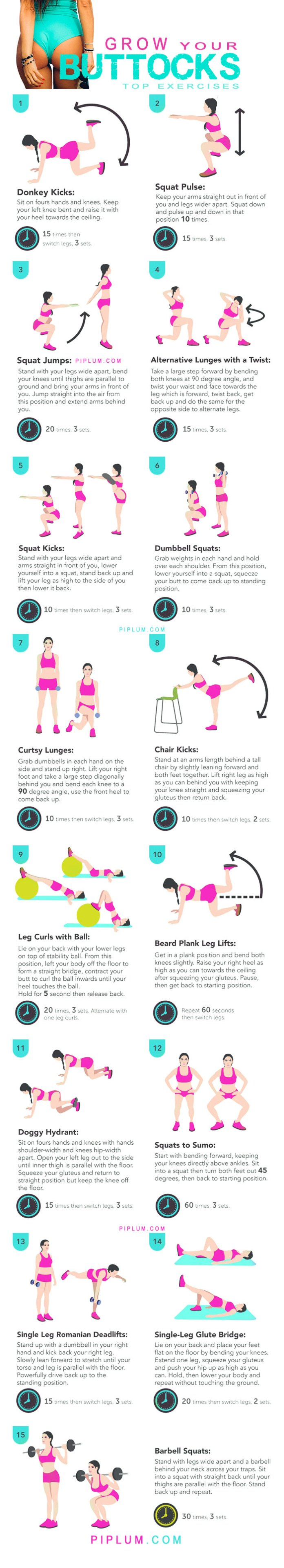 how-to-grow-butt-workout-exercises-butt-poster-infographic