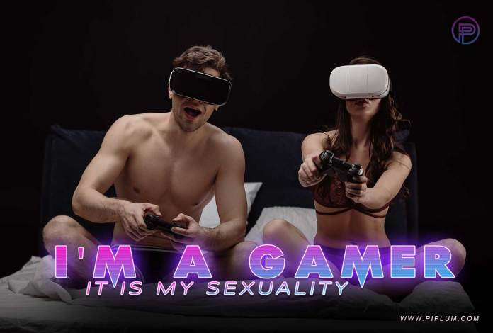 Couple playing games in virtual reality.