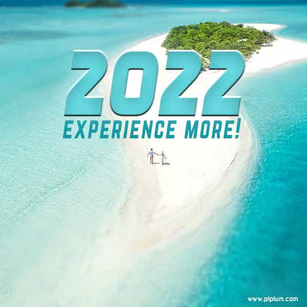 Experience-more-in-2022-Positive-New-Years-quote-view-from-paradise-blue-ocean-white-sand