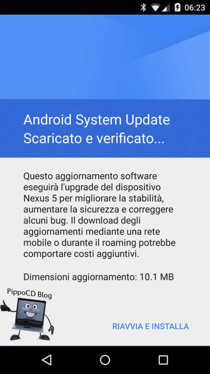 aggiornamento di sicurezza android
