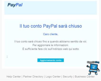 conto Paypal sarà chiuso (phishing)