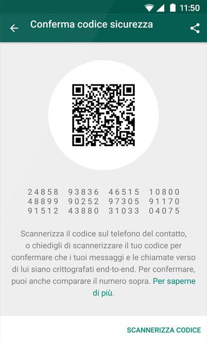 Whatsapp conferma codice sicurezza