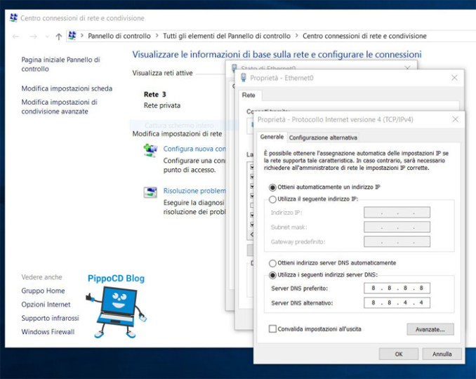 cambiare dns windows 10