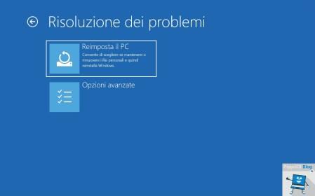 Windows 10 opzioni di avvio avanzate