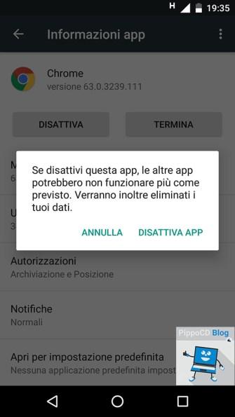 android disattivare app